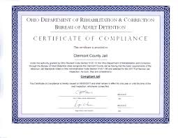 correction bureau today we received our certificate of compliance from the ohio