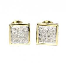 earrings for men earrings for men 10k yellow gold 0 23ct 8 5mm back princess