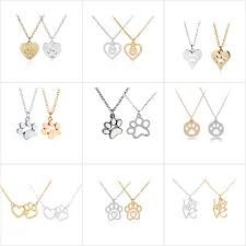 memorial pendants new cat and dog paw print choker necklace charm puppy heart pendants