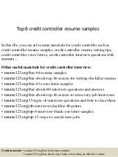 Controller Resume Samples by Top 8 Credit Manager Resume Samples