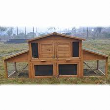 large rabbit hutch pet cage with water resistant asphalt roof to