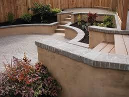 curved seating wall portfolio sunken patio garden blue