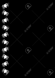 Free Halloween Border by Halloween Border With White Spiders On Black Background Stock