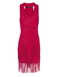 norman dresses norman bead flapper dress in pink lyst