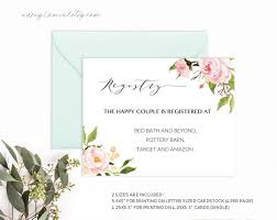 Wedding Registry Cards For Invitations Printable Wedding Registry Card Pink Peony Floral Template