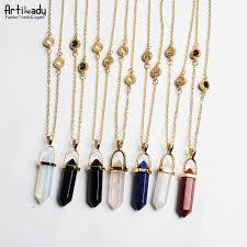 color stone necklace images Artilady new design multi color quartz pendant necklace gold chain jpg