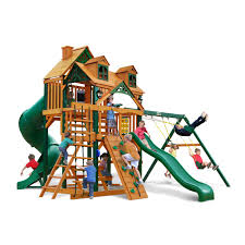 exterior wooden roof with green slide for kids also tire swing