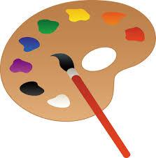 palette and paint brush line art free clip art
