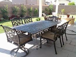 flamingo cast aluminum 7pc outdoor patio dining set with 44x84