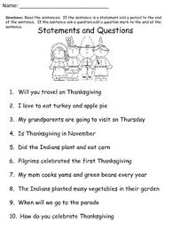 free thanksgiving worksheet statements and question holidays