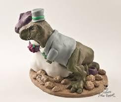 realistic t rex dinosaur wedding cake topper custom and groom