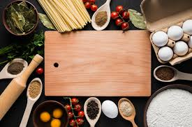 ingr馘ients cuisine board amidst cooking ingredients photo free