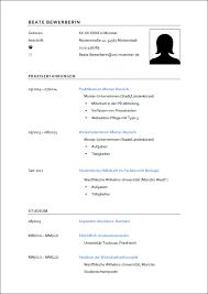 Lebenslauf Vorlage Uni Schriftliche Bewerbung