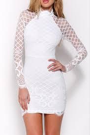 white lace high collar sheer long sleeves bodycon mini dress