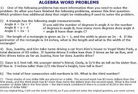 algebra 1 word problems worksheets