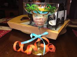 happy birthday margarita glass custom order sample margarita glass with sunshine blue waters