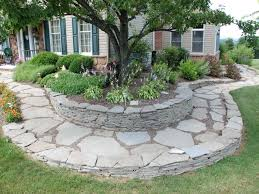Simple Landscape Ideas by Simple Landscaping Ideas Using Flagstone In Front Of Contemporary