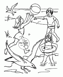 funny summer time on a beach coloring page for kids seasons