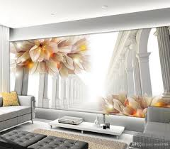 3d murals photo any size 3d beautiful flowers in tv setting wall decoration