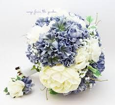 hydrangea bouquet blue white ivory bridal bouquet peonies hydrangea roses ivory