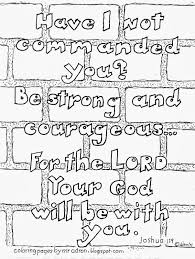 coloring pages for kids by mr adron be strong and courageous