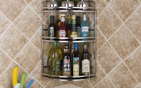 Wall Cabinet Spice Rack Stainless Steel Wall Shelf Corner Shelf Spice Rack Tripod Kitchen