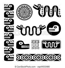 mayan gods and ornaments on white eps vector search clip