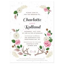 floral woodland plantable wedding invitation plantable wedding