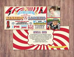 first birthday circus ticket carnival ticket invitation vintage