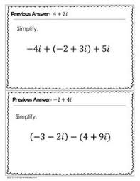 operations with complex numbers math aids com pinterest