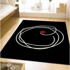 Black White Rugs Modern Circles And Rings Contemporary Black And Grey Carved
