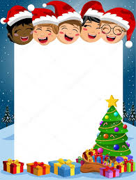 happy multicultural kids behind blank vertical frame with xmas