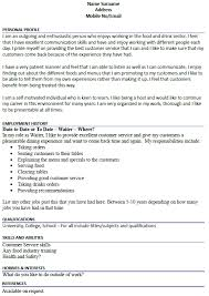 Special Skills For Resume Examples by Resume For Waiter Waiter Resumes Resume And Cv Examples