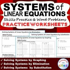systems of linear equations homework worksheets skills practice