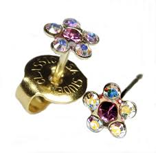 studex studs ear piercing earrings post baby studs gold clear gem studex
