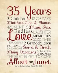 35 anniversary gift 35th anniversary any year anniversary gifts personalized