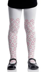 red patterned leggings heart print girls tights in white red kids tights