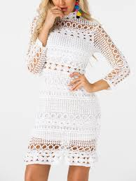design pattern of dress white lace cut out design high neck long sleeves dress us 39 95 yoins