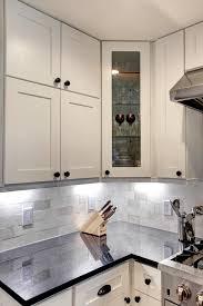 kitchen glass shaker cabinets glass door corner cabinet transitional kitchen houston