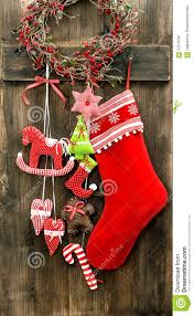 christmas stocking and handmade toys hanging vintage decoration