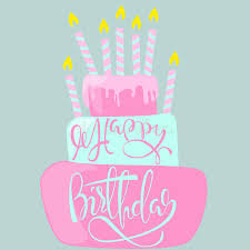 happy birthday card with cake and candles vector illustration