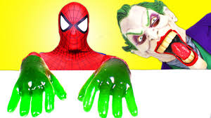 spiderman frozen elsa vs joker gummy joker tongues u0026 giant
