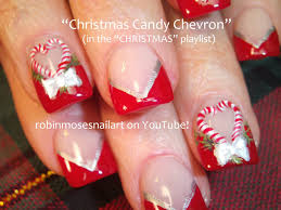 diy christmas nail art xmas candy cane nails bows design