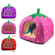 Igloo Dog Bed Soft Strawberry Pet Igloo Dog Cat Bed House Cushion Basket Red Red