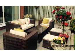 Rattan Settee Ascot 2 Seater Sofa Set Chocolate And Cream