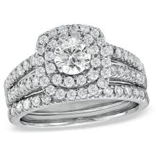 bridal set wedding rings 1 1 2 ct t w diamond frame bridal set in 14k white gold