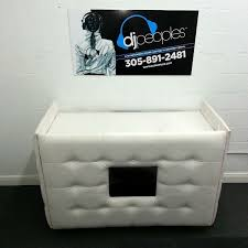 photo booth rental miami white tufted leather dj booth rental with media screen dj peoples