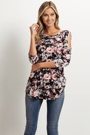 cold shoulder tops black floral cold shoulder top