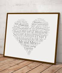 silver wedding gifts silver wedding 25th anniversary word gift abc prints
