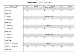 timetable template rangitoto college